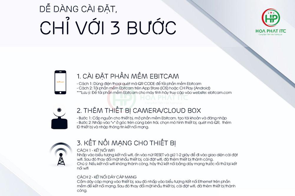 camera ebitcam E3 de dang cai dat - Camera IP Ebitcam E3 (4MP)- Quay quét đàm thoại hai chiều