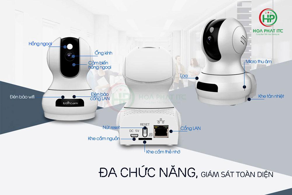 camera ip wifi Ebitcam E3 quay quet da nang - Camera IP wifi Ebitcam E3 (3MP) quay quét