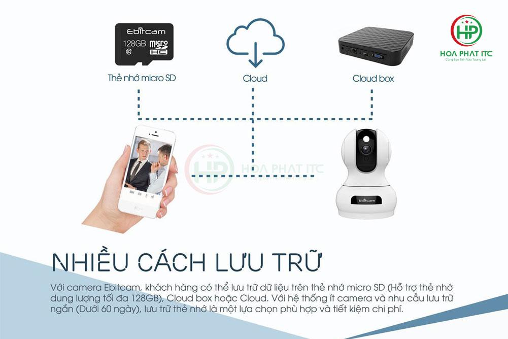 nhieu cach luu tru cua camera e3 - Camera IP Ebitcam E3 (4MP)- Quay quét đàm thoại hai chiều