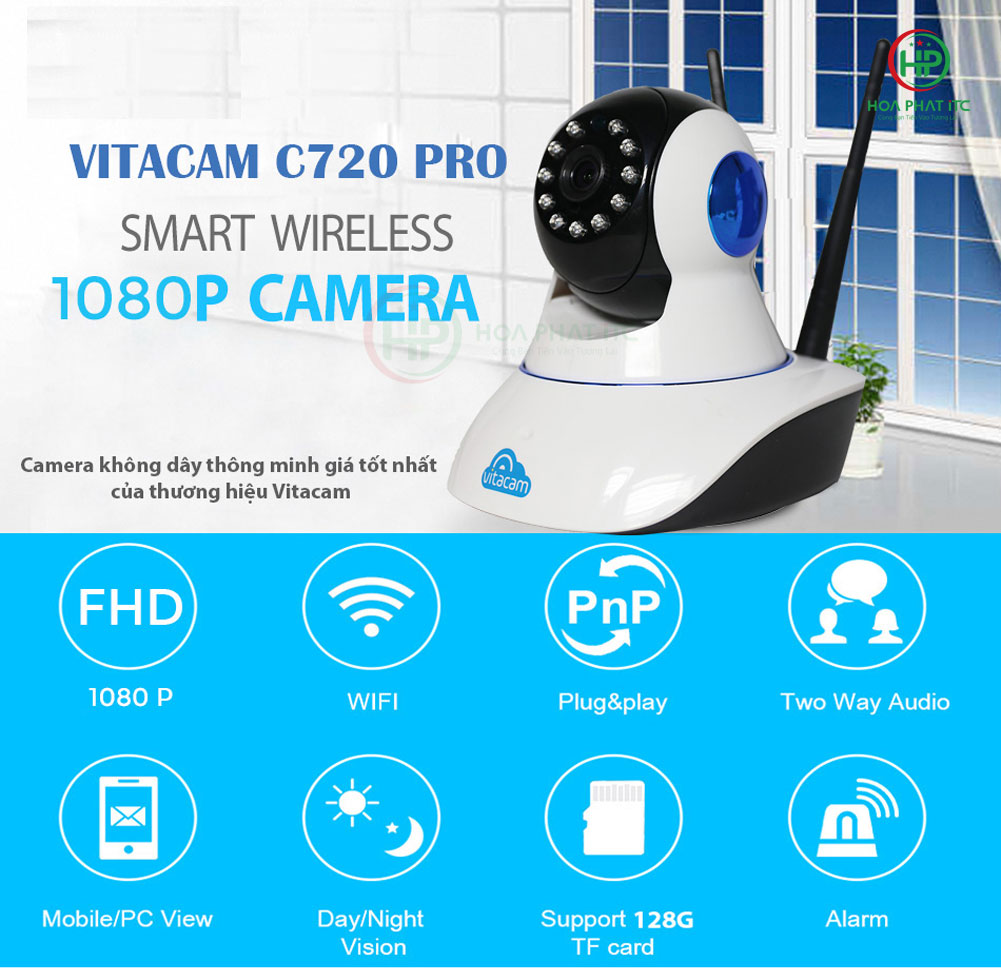 tinh nang noi bat - Camera Vitacam C720 Pro 2.0 MPX - FULL HD 1080P