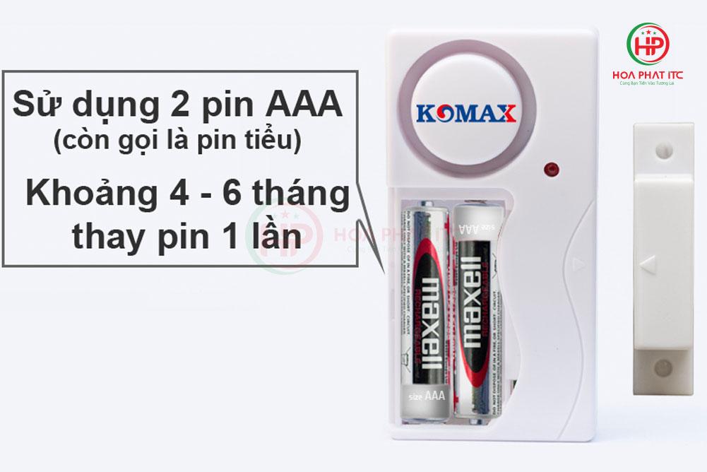 komax km rc25 su dung pin tieu AAA - Báo trộm chống đập, cạy cửa Komax KM-RC25