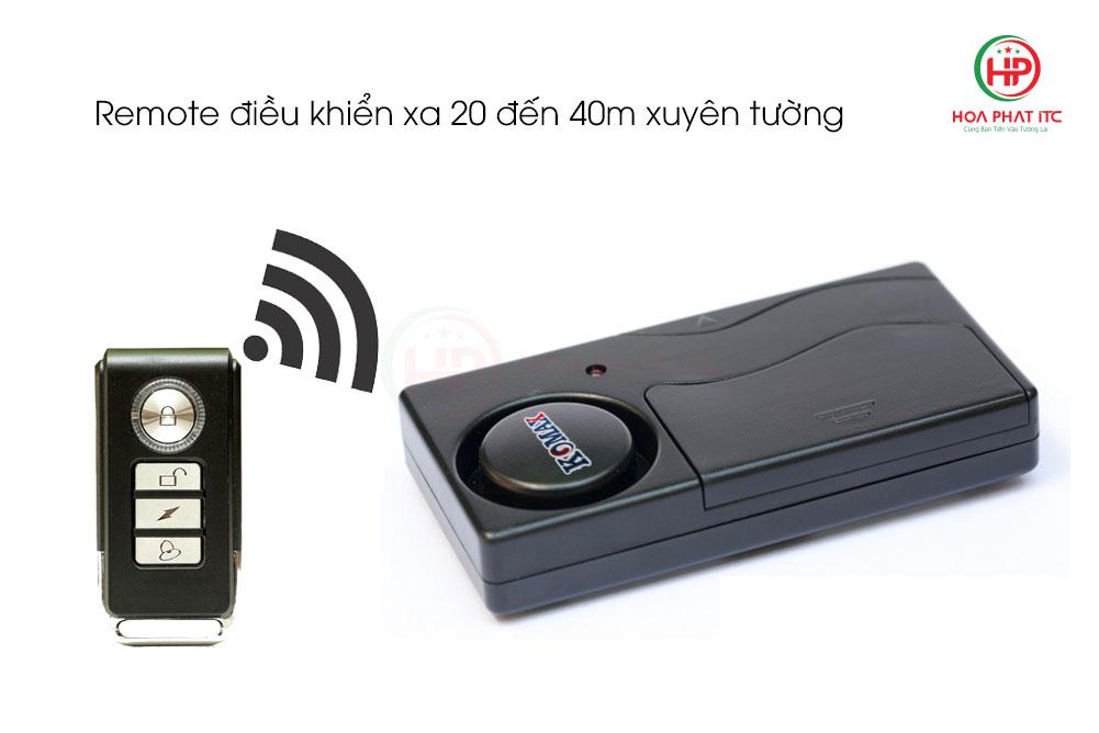 remote dieu khien xa 20 den 40m xuyen tuong - Báo trộm cảm biến rung kèm remote Komax KM-R16