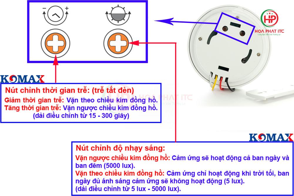 dien chinh thoi gian va do sang - Mắt cảm biến hồng ngoại Komax KM-S19