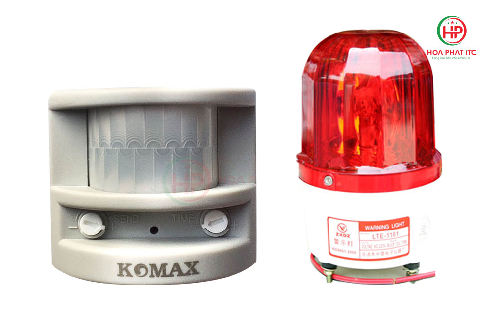 combo bao dong hong ngoai komax pg 113 den xoay khong coi 01 - Combo báo động hồng ngoại Komax PG-113 + Đèn xoay không coi