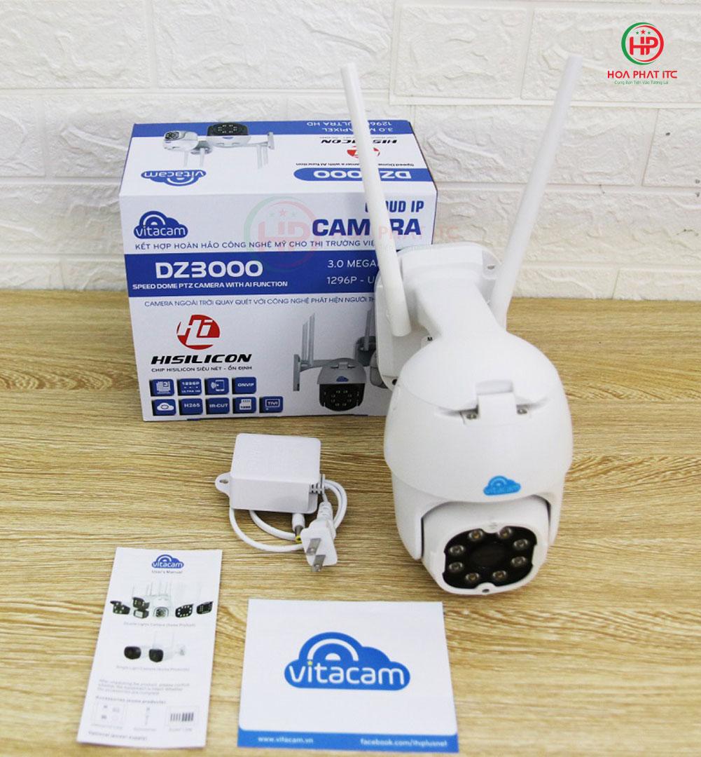 bo san pham day du dz3000 - Camera Vitacam DZ3000 3.0Mpx PTZ ngoài trời xoay quay quét