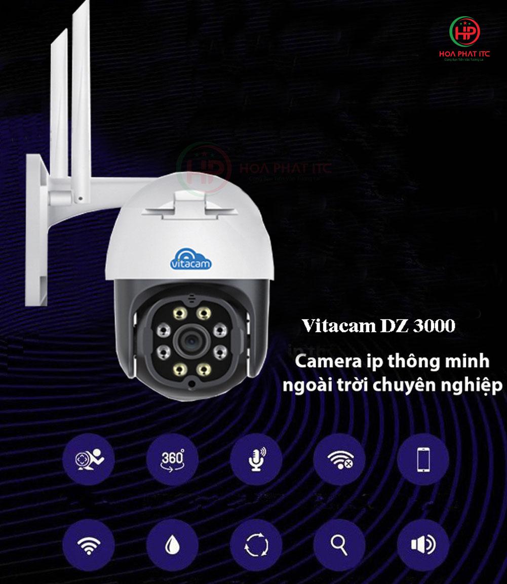 camera ip dz3000 - Camera Vitacam DZ3000 3.0Mpx PTZ ngoài trời xoay quay quét