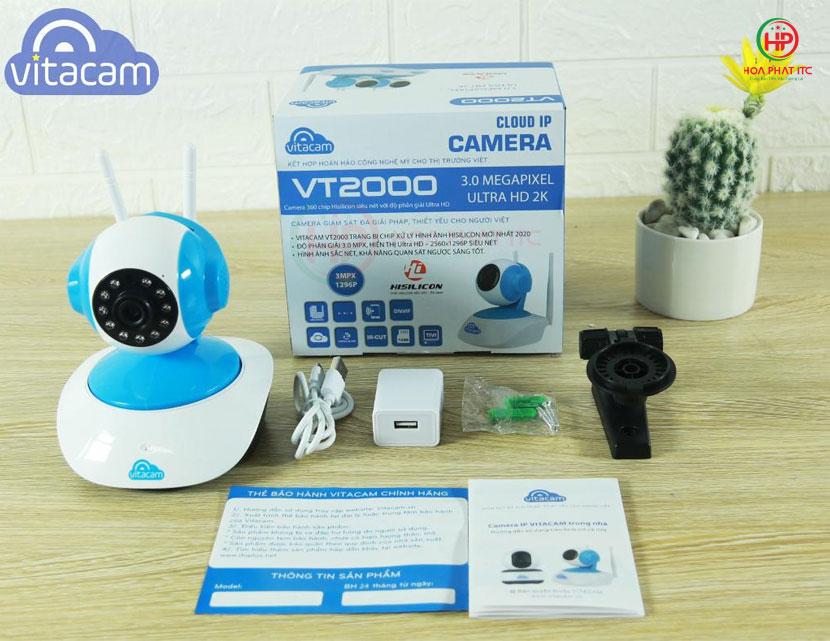 bo san pham day du camera vitacam vt2000 1 - Camera Vitacam VT2000 3.0 Mpx trong nhà