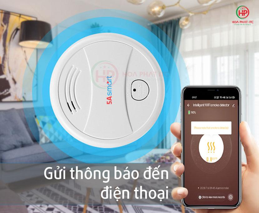 cam bien bao chay 5a sm01 ket noi voi dien thoai - Báo khói độc lập kết nối wifi 5ASmart 5A-SM01
