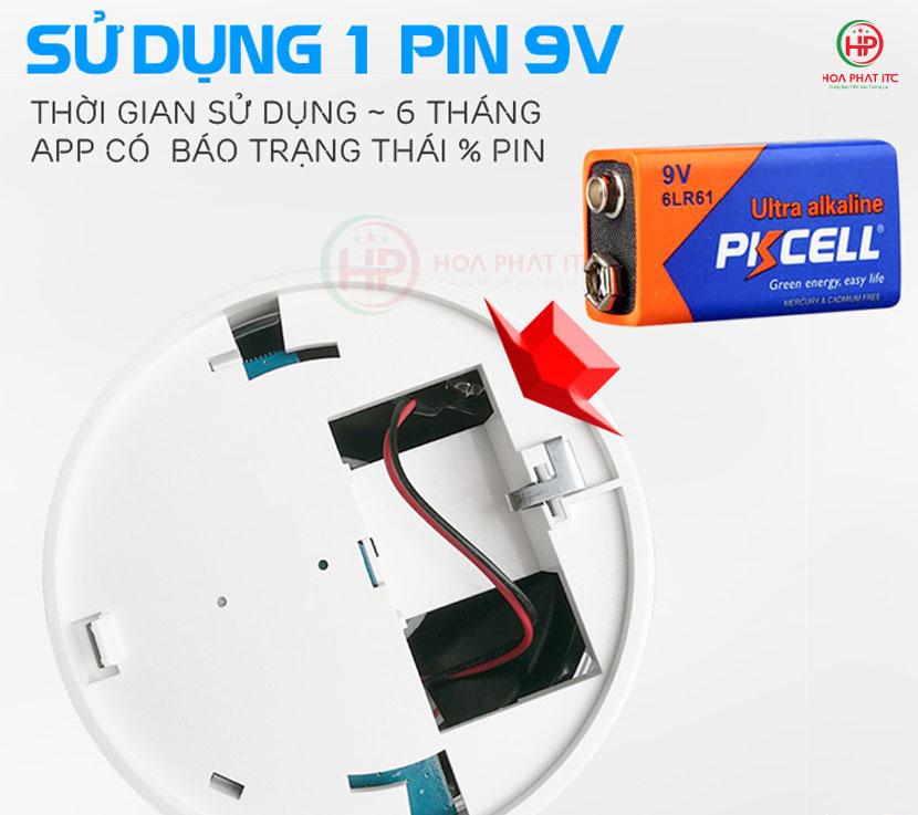 cam bien bao chay doc lap sung pin 9v - Báo khói độc lập kết nối wifi 5ASmart 5A-SM01