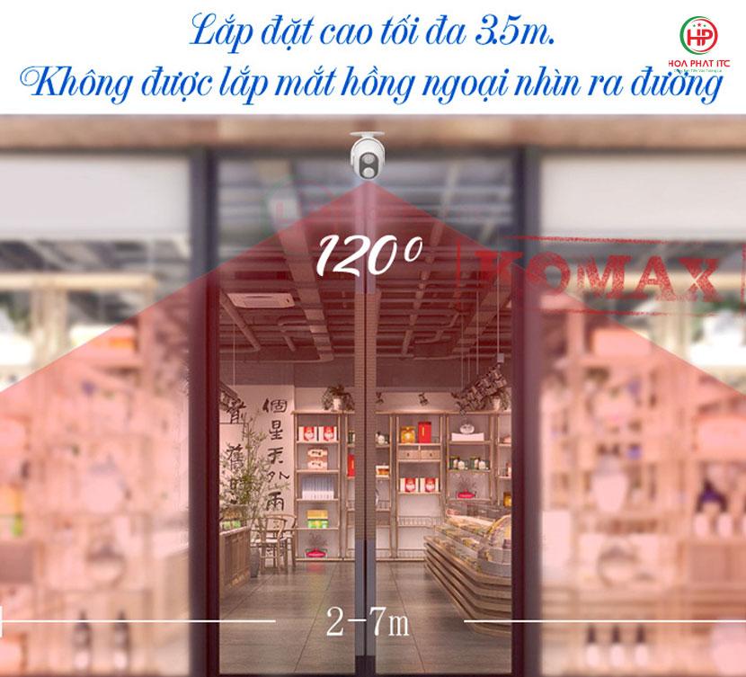 chieu cao lap dat - Chuông báo khách Komax KM-002B
