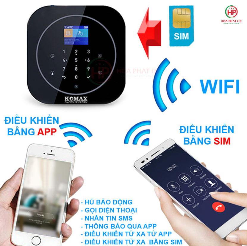 bo bao trom dung sim va ket noi wifi komax km g20 - Bộ chống trộm trung tâm dùng sim và wifi Komax KM-G20