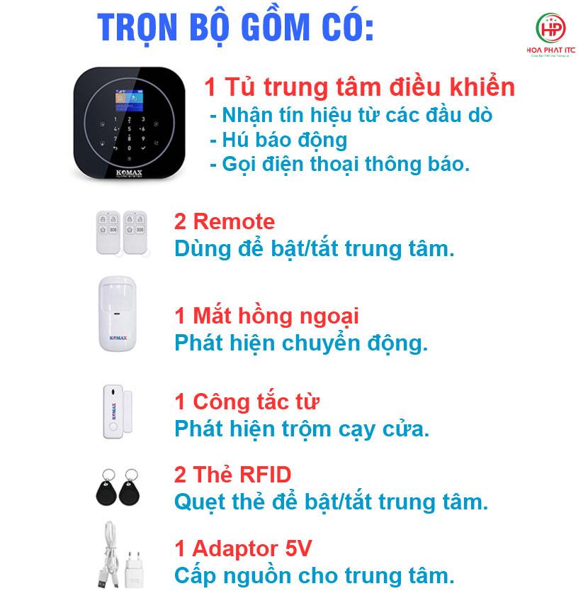bo san pham komax km g20 day du - Bộ chống trộm trung tâm dùng sim và wifi Komax KM-G20