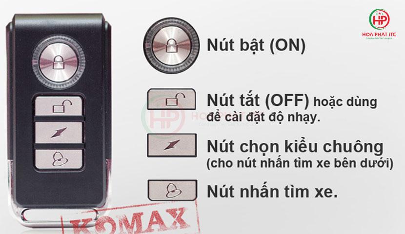 dieu khien cua komax km r16 - Thiết bị chống trộm cảm biến rung kèm remote Komax KM-R16A