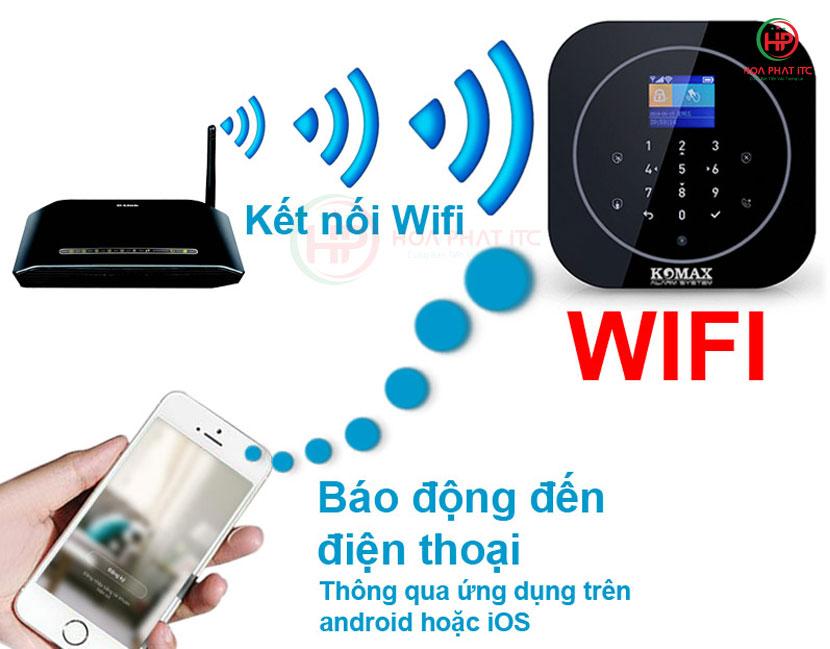 gui bao dong den dien thoai - Bộ chống trộm trung tâm dùng sim và wifi Komax KM-G20