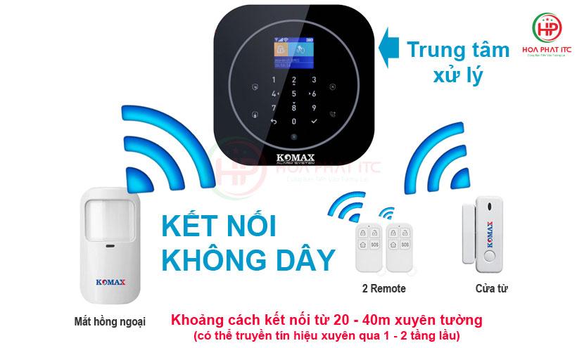 ket noi voi khoang canh 20 40m - Bộ chống trộm trung tâm dùng sim và wifi Komax KM-G20