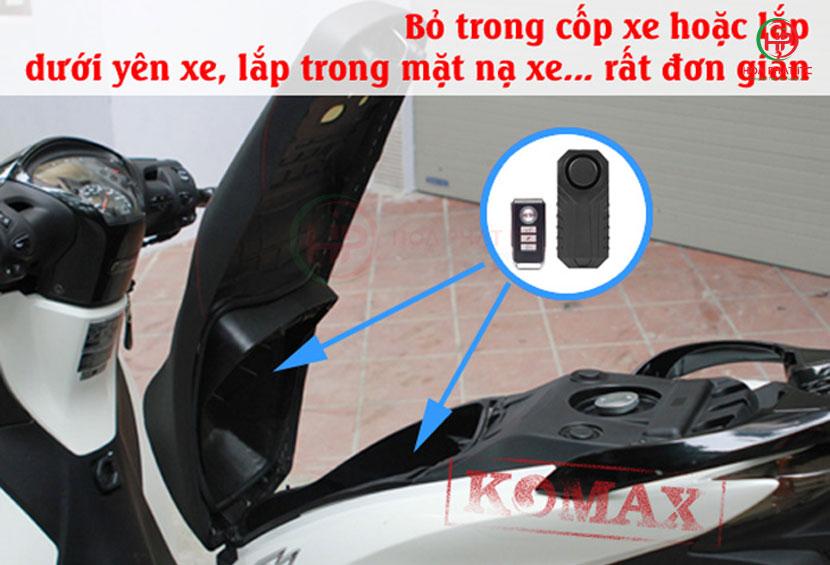 komax km r16 co the lap chong trom o xe - Thiết bị chống trộm cảm biến rung kèm remote Komax KM-R16A