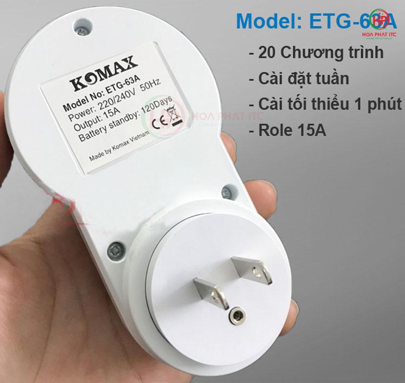 may sao o cam komax ATG 63A 3 - Ổ cắm hẹn giờ Komax ETG-63A