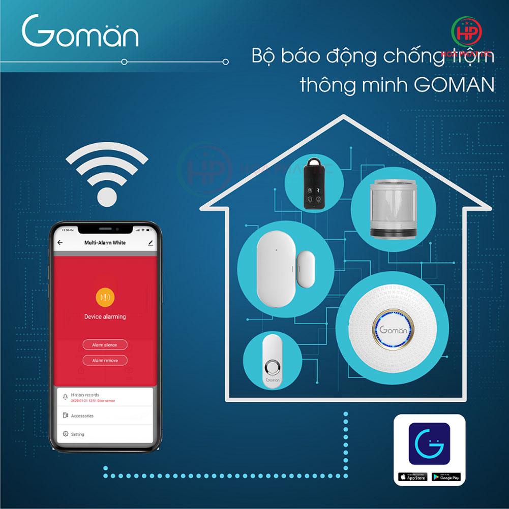bo bao dong chong trom thong minh goman - Bộ báo động chống trộm qua điện thoại wifi GOMAN GM-SA351