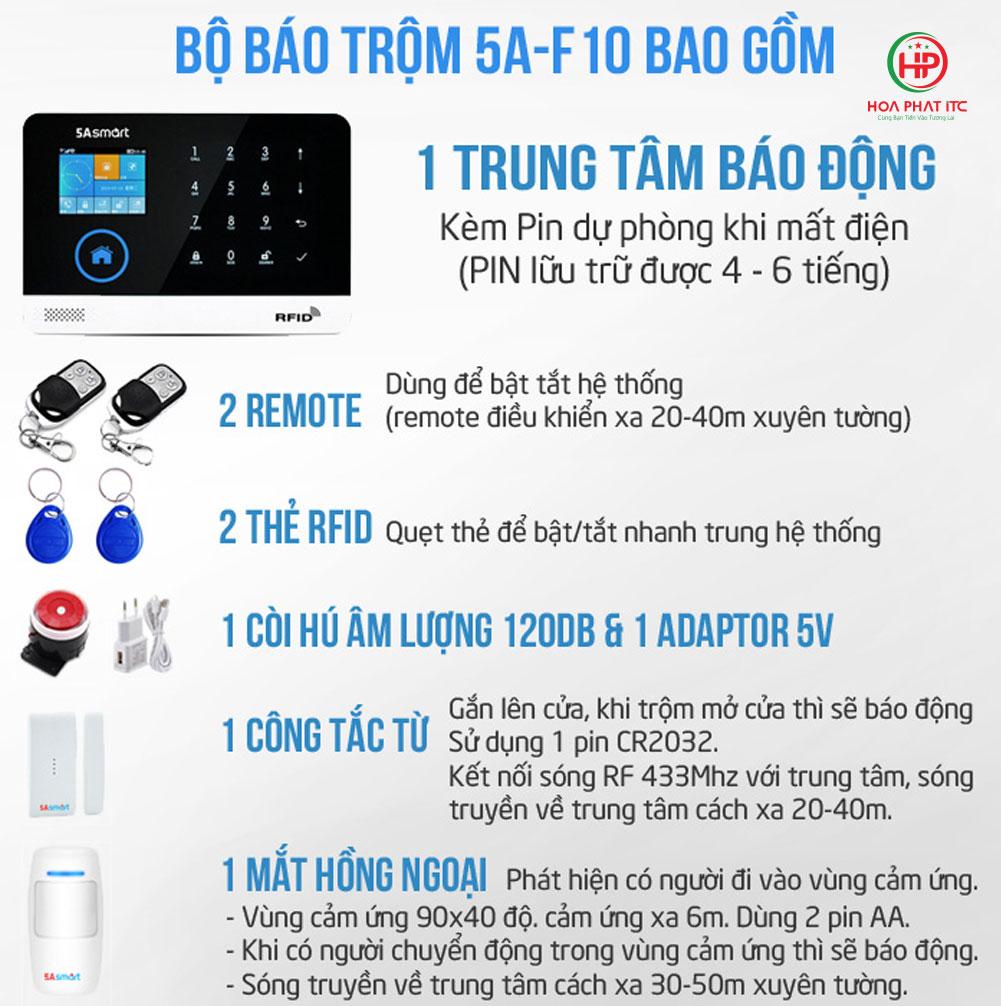 bo bao trom 5a smart 5a f10 - Bộ chống trộm trung tâm dùng sim và wifi 5A Smart 5A-F10