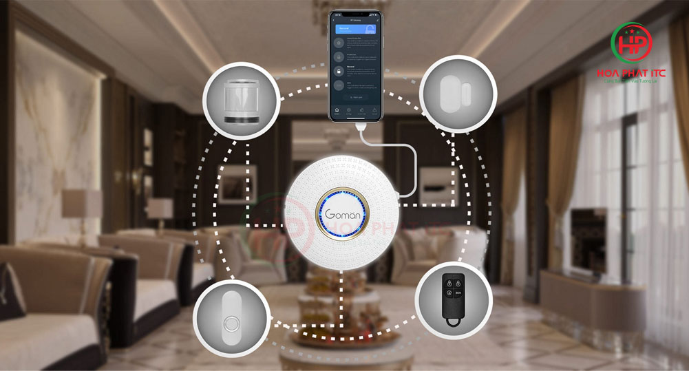 bo chong trom trung tam GM SA351 - Bộ báo động chống trộm qua điện thoại wifi GOMAN GM-SA351