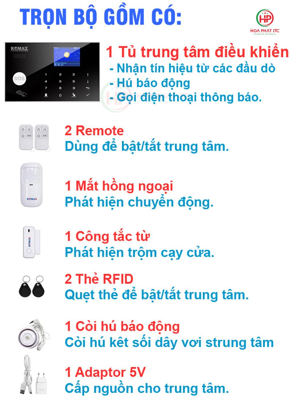 bo san pham chong trom trung tam km g30 day du - Bộ chống trộm trung tâm dùng sim và wifi Komax KM-G30