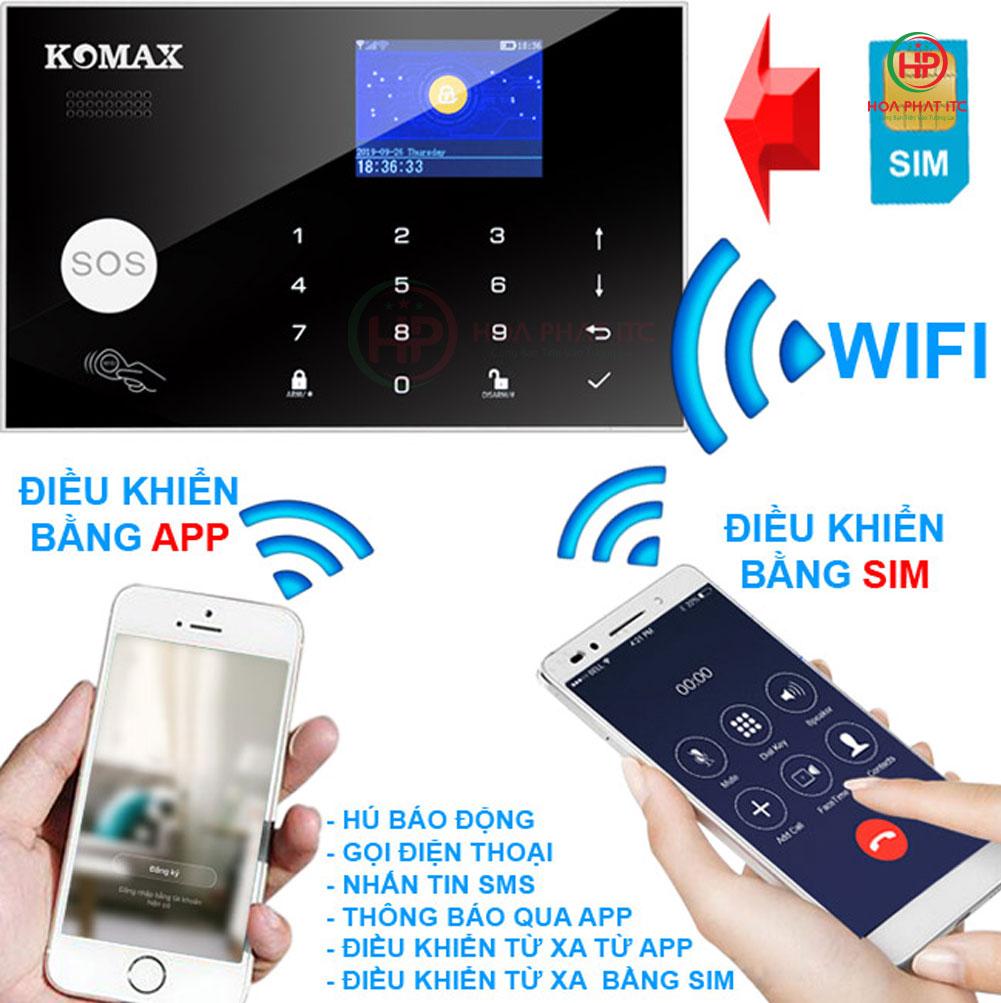 cai dat ket noi de dang voi dien thoai - Bộ chống trộm trung tâm dùng sim và wifi Komax KM-G30