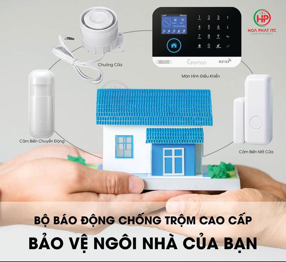 he thong chong trom goman - Báo động chống trộm qua điện thoại dùng Sim và Wifi GOMAN GM-SA352W