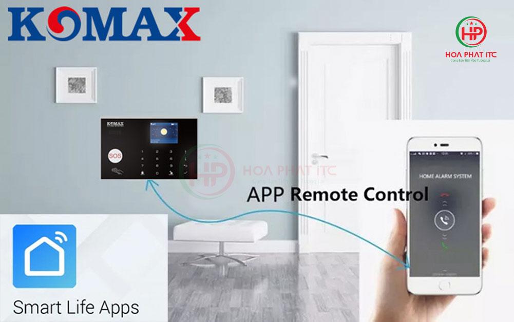 ket noi de dang dieu khien qua app - Bộ chống trộm trung tâm dùng sim và wifi Komax KM-G30