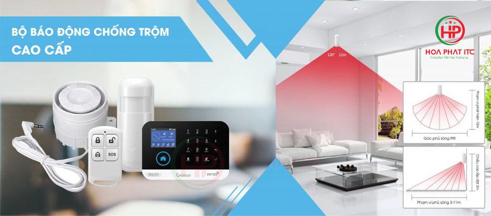 mat hong ngoai bo chong trom gm sa352w - Báo động chống trộm qua điện thoại dùng Sim và Wifi GOMAN GM-SA352W