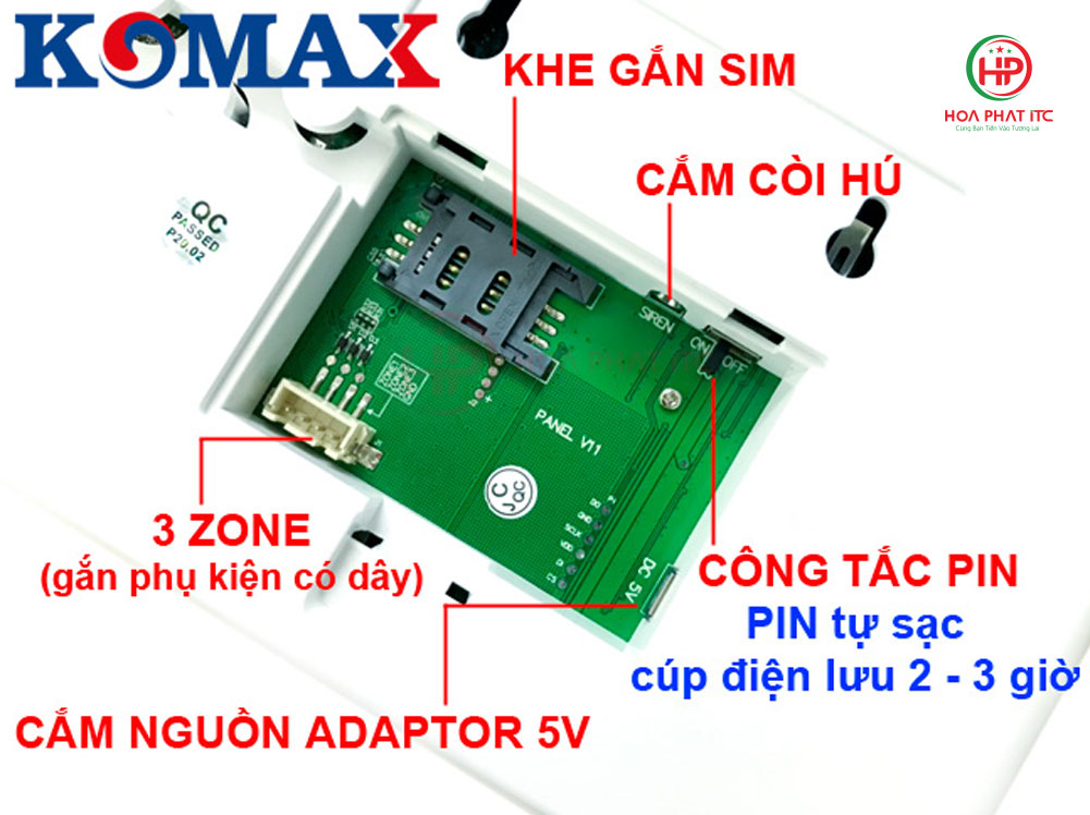 mat sau bo bao trom trung tam - Bộ chống trộm trung tâm dùng sim và wifi Komax KM-G30