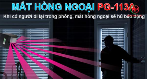 bao dong pg 113a 600x321 - Báo động hồng ngoại 6 kiểu chuông Komax PG-113A