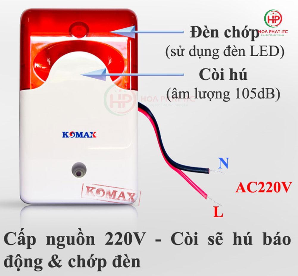 cau tao coi hu km a09 - Còi hú kèm đèn chớp 220V Komax KM-A09