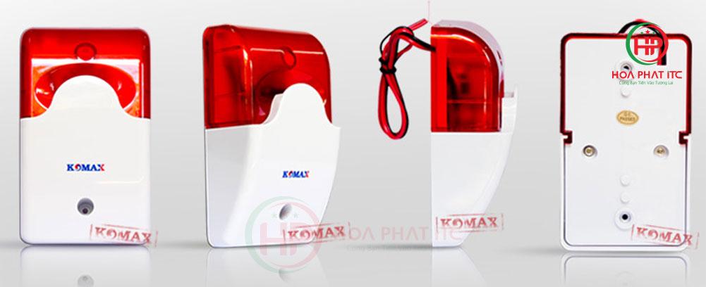 coi hu kem den chop 220v komax KM A09 01 - Còi hú kèm đèn chớp 220V Komax KM-A09