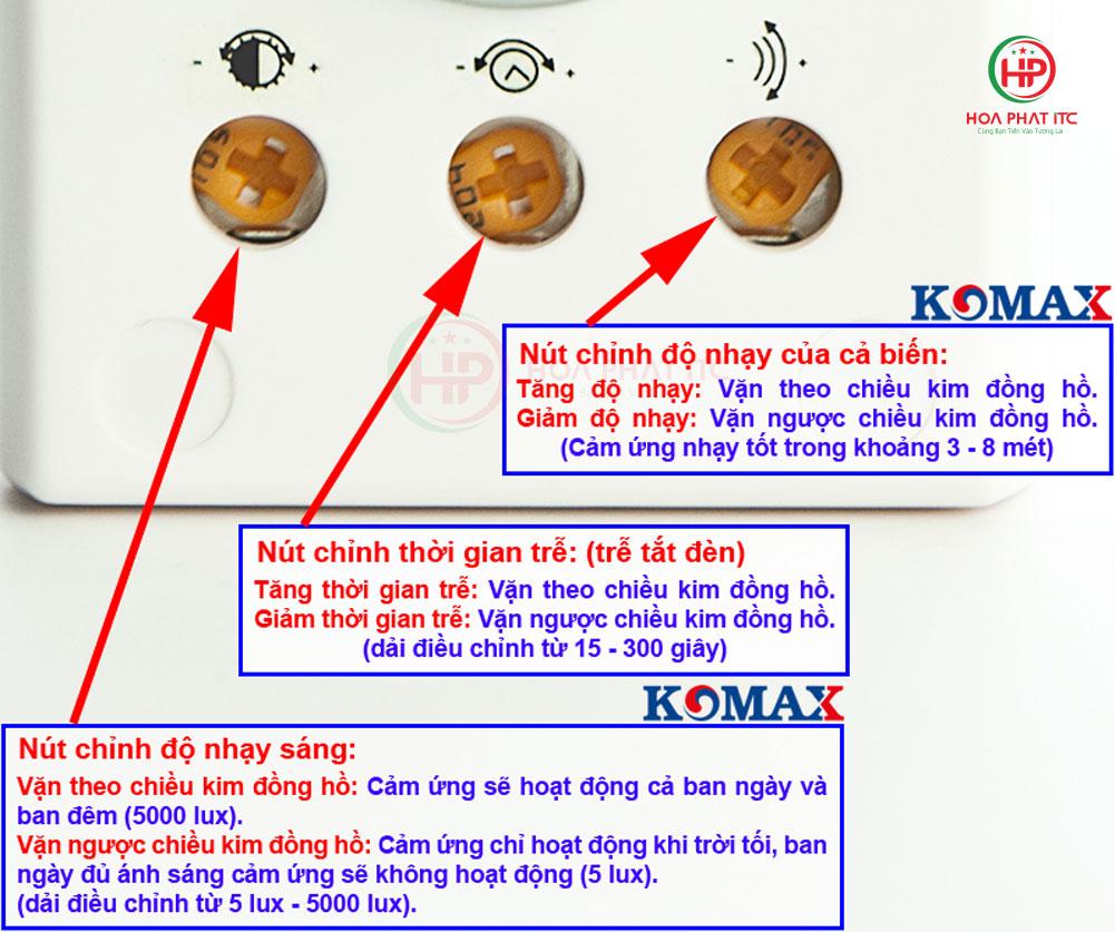 cac nut dieu chin cua gui den cam ung - Đui đèn cảm biến chuyển động Komax KM-S18 tích hợp phích cắm